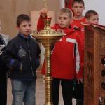 Перед молебном. Мальчики из детского дома и сын воспитателя (слева)